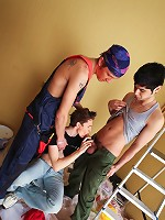 Three way teen twink sex at the construction site